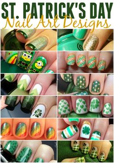 So many cute nail designs to rock your green on St. Patrick's Day.