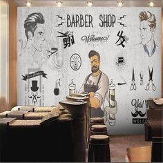 European and American Barber Shop Wallpaper - 96W x 60H inches / Non-woven Paper