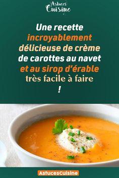 Une recette incroyablement délicieuse de crème de carottes au navet et au sirop d'érable très facile à faire ! Thai Red Curry, Soup Recipes, Mashed Potatoes, Soups, Favorite Recipes, Vegan, Couture, Fruit, Cooking