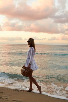 Beach Outfit, Little White Dress, Rhode Resort Ella Dress, Cult Gaia Handbag