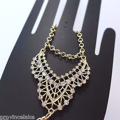 Bridal Crystal Rhinestone Gold Tone Hand Chain Slave Bracelet & Ring Set