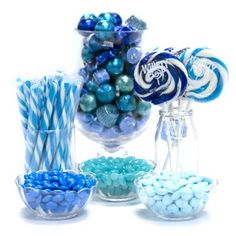 Blue Candy Buffet Ideas.   Huge selection of assorted candy types, colors & containers - perfect for planning your candy buffet.