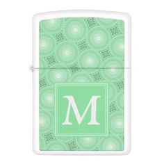 Monogram spring green circles pattern zippo lighter - monogram gifts unique design style monogrammed diy cyo customize