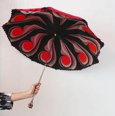 red Umbrella vintage Fifties  Black  Rare  Decorated 1960s retro home decor  graphic designed