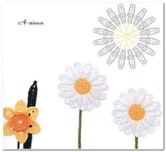 These are really cute crochet flower ♥LCF♥ with diagram