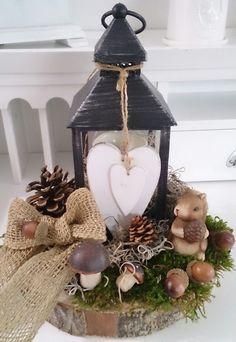 Herbstdeko, Pilze, Deko ,Kranz, Vintage, neu Herbst Tischdeko Windlicht Laterne