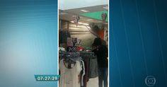 Vídeo mostra porta de loja sendo arrancada por temporal em SP