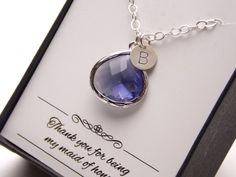 Purple Necklace Amethyst Tanzanite Initial Necklace by MleBridal