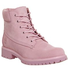 Timberland Slim Premium 6 Inch Boots ($185) ❤ liked on Polyvore featuring shoes, boots, ankle booties, ankle boots, pink nubuck, women, lace up ankle bootie, lace up booties, short boots and short lace up boots