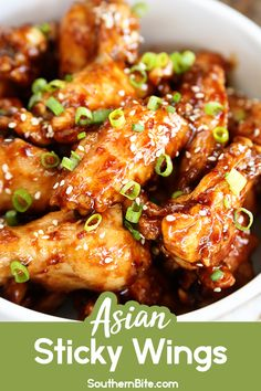 Asian Sticky Wings - Southern Bite These Asian Sticky Wings are the perfect appetizer and football food! Hoisin sauce, garlic chili sauce, ginger, and garlic combine to make the most amazing wing sauce recipe! Sauce Chili, Chili Garlic Sauce, Chicken Wing Sauces, Chicken Wing Recipes, Recipe Chicken, Asian Appetizers, Appetizer Recipes, Meat Appetizers, Clean Eating Snacks