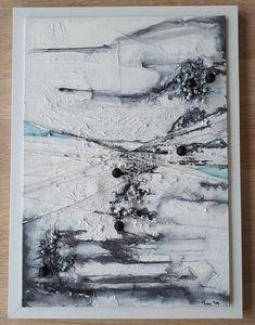 #mixedmedia #handmade #canvas A4-size #monochrome #black&white