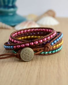 Colorful wrap bracelet. Long multicolored beaded bracelet. Women's bracelet MTO @  SinonaDesign