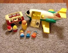 Vintage FISHER PRICE TONKA Little People Airplane & Mini Bus Toy Lot 60s 70s 80s