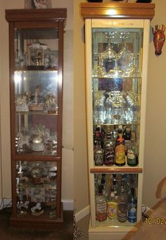 My First DIY Since Finding Pinterest! Old Curio To New Liquor Cabinet!