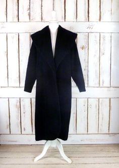 50s/60s vintage long black wool opera coat/full length black winter coat