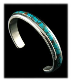 Awesome heavy Silver Inlay Bracelet with Kingman Turquoise by John Hartman of Durango Silver Company - Durango, Colorado USA