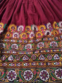 Beautiful original vintage Rabari Ghagra with Kuchi hand embroidery accentuated with mirror work. These skirts are very rare to find.