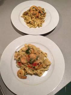 Pasta mit Scampi und Spinat 4