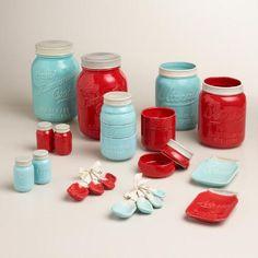 Blue Mason Jar Salt and Pepper Shaker | World Market