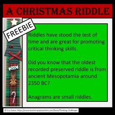 A riddle for Christmas is a fun freebie activity to challenge and increase vocabulary skills. Your students use their critical thinking skills to decipher the clue and find the word. Christmas Riddles, Christmas Words, Christmas Activities, Increase Vocabulary, Critical Thinking Skills, Word Work, Literacy Centers, 12 Days, Middle School