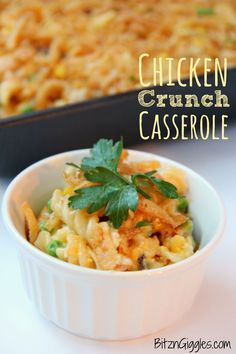 Chicken Crunch Casserole - A creamy, crunchy chicken casserole that goes together in minutes using a store-bought rotisserie chicken!