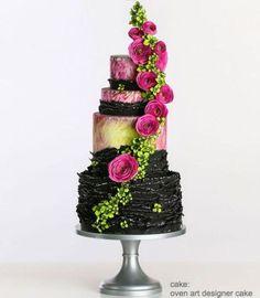 Black, Colorful Floral Cake