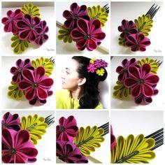 Kanzashi Fabric Hair Flower  Plum Trio by TheaStarr on Etsy, $55.00