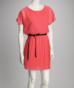 Take a look at this Coral Chiffon Cape-Sleeve Pleated Dress by A List on #zulily today! $19.99