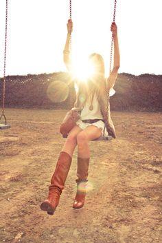Swinging in the sun.