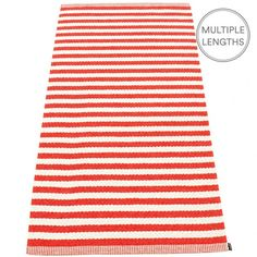 Strike bold with Pappelina's coral red and vanilla striped Duo rug and add a pop of colour to your room. The 85 cm wide Pappelina Duo is uniquely woven using an exceptional number of warp threads and comes in two practical lengths. Pappelina rugs are fantastic for areas with heavy foot traffic. They are woven from soft plastic using traditional Swedish techniques, they are fully reversible and washable, although a quick vacuum is all that they will need to keep them looking good as new.