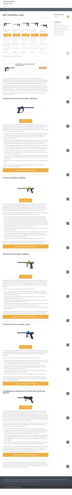 Best Paintball Gun Reviews purposely reviewed and rated the top markers that you can buy at many different prices at least a few at each price range.