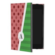 Watermelon Polka Dot and Stripe Monogram iPad Mini 4 Case - monogram gifts unique design style monogrammed diy cyo customize
