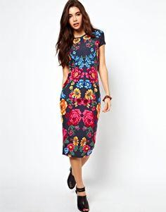 Dress with Floral Border Print Floral Dress cute  #dressforwomen #topdress #emma875 #FloralDress #Floral #Dresses #womenfashion #newfashion www.2dayslook.com