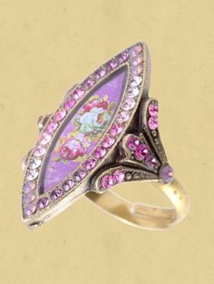 Michal Negrin biconvex Ring whit a victorian rose and sparkling Swarovski crystals. The surface of the ring measures inch high Weird Jewelry, Jewelry Rings, Vintage Jewelry, Handmade Jewelry, Michal Negrin, Israeli Jewelry, Crown Jewels, Romantic Dance, Swarovski Crystals