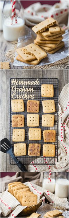Homemade Graham Crackers: These were easy enough to make and the flavor blows the boxed kind away! food desserts cookies via @bakingamoment