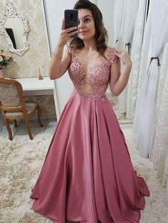 Gorgeous Ball Gown Round Neck Open Back Rose Red Satin Lace Long Prom Dresses, Elegant Evening Dresses Formal Dresses With Sleeves, A Line Prom Dresses, Long Wedding Dresses, Grad Dresses, Satin Dresses, Sexy Dresses, Bridesmaid Dresses, Long Dresses, Pink Prom Dresses