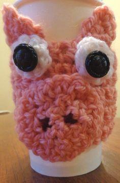 Crocheted Pig Coffee Cozy. $7.00, via Etsy.