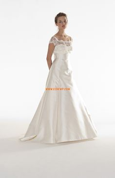 """Brides: Peter Langner - Fall """"La Promessa"""" strapless satin A-line wedding dress with fitted lace embroidered shoulder cover and short sleeves, Peter Langner Beach Style Wedding Dresses, Wedding Dress 2013, Wedding Dresses Photos, Modest Wedding Dresses, Bridal Dresses, Wedding Gowns, Wedding Bells, Short Bride, A Line Gown"""