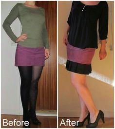 Too short skirt made longer with pleated edge. Refashion DIY. Saga i farver: Jeg elsker læg