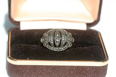 FREE SHIPPING Art Deco Design Vintage Marcasite Sterling Silver Ring Beautiful…