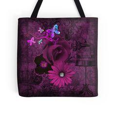 #PlumPurple #BirdcageButterflies&Flowers #ToteBag by #MoonDreamsMusic #ShabbyChic #SweetlyScrapped