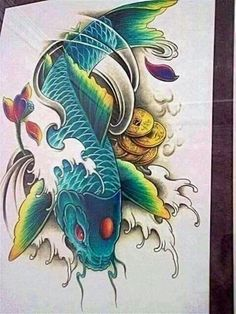 Their spectacular colors and patterns are part of the reason that koi fish are loved today and treasured by their owners. Colors of a koi fish should be bright. Koi Tattoo Design, Tatoo Designs, Japanese Tattoo Designs, Ocean Tattoos, Baby Tattoos, Body Art Tattoos, Koi Kunst, Lottus Tattoo, Koi Fish Designs