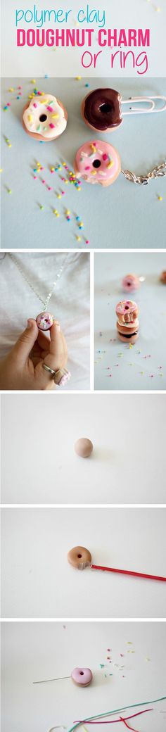 Miniature doughnuts are the cutest accessory weve ever seen! AND you can make this yourself? Were in cutesy crafting heaven with this one. How to make these adorable charms for necklaces or rings with polymer clay: www.ehow.com/...