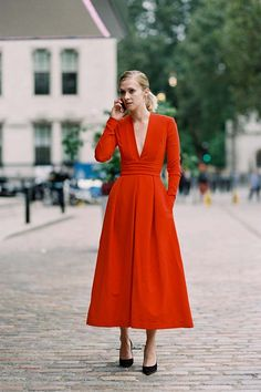 British model Portia Freeman, before Preen, London, September 2016.     The perfection....and impact....of a beautifully cut red mi...