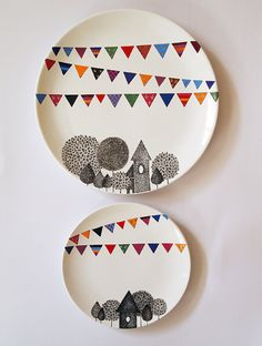 Village Wall Plate  Small size by ZuppaAtelier