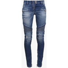 Balmain Destroyed stretch cotton ribbed biker jeans ($1,175) ❤ liked on Polyvore featuring jeans, pants, bottoms, pantalones, balmain, blue, ripped blue jeans, distressed jeans, destroyed jeans and blue jeans