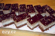 Kokosový sen. Fantastický zákusek s výbornou náplní pečený na jednom plechu Dessert Recipes, Desserts, Tiramisu, Bread, Vegan, Cooking, Ethnic Recipes, Food, Cakes