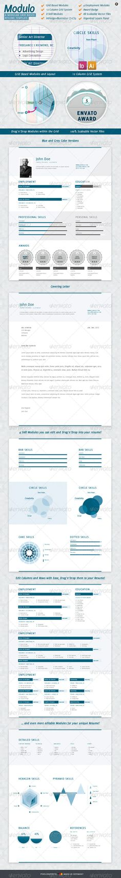 Resume Modulo: Clean Column Grid Resume Template - #Resumes Stationery Download here: https://graphicriver.net/item/modulo-clean-column-grid-resume-template/1495822?ref=alena994
