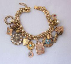 Antique Charm Bracelet Repurposed Victorian Watch by jryendesigns Pandora Bracelet Charms, Pandora Jewelry, Charm Jewelry, Necklace Charm, Jewelry Shop, Old Jewelry, Antique Jewelry, Vintage Jewelry, Antique Bracelets