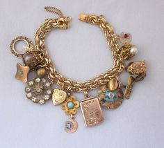 Antique Charm Bracelet, Repurposed Victorian Watch Fob Locket, Enamel Button, Gold Filled, Heart, Rhinestones, Assemblage